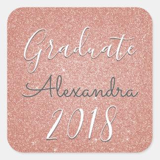 Rose Gold - Blush Pink Glitter 2018 Graduate Square Sticker