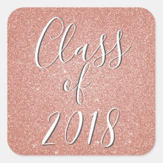 Rose Gold - Blush Pink Glitter Class of 2018 Square Sticker