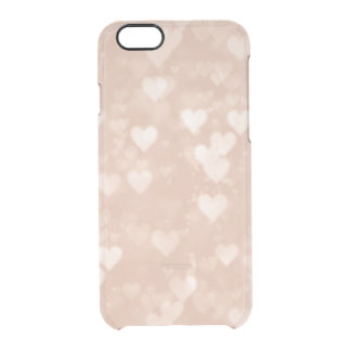 Rose Gold Blush Pink Hearts Bokeh Pattern Clear Clear iPhone 6/6S Case