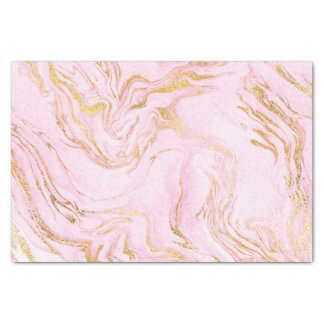 Rose Gold Blush Pink Marble White Abstract Metalli Tissue Paper