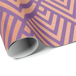 Rose Gold Blush Purple Geometry Art Deco Copper Wrapping Paper
