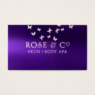 Rose Gold Blush Purple Shadows Glam Butterfly Business Card