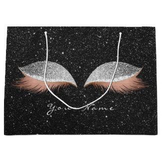 Rose Gold Blush Silver Glitter Lashes Black Makeup Large Gift Bag