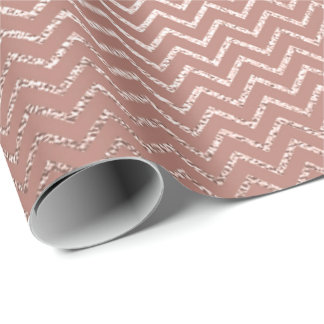 Rose Gold Blush Skinny Chevron Stripes Tribal Wrapping Paper