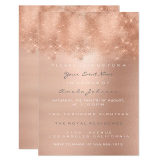 Rose Gold Blush Spark Powder Bridal Sweet Sixteen Card