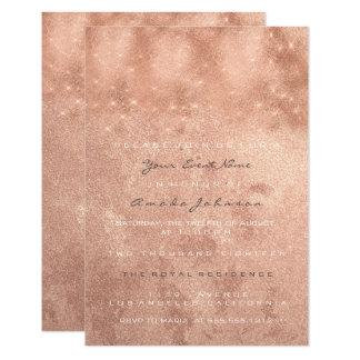 Rose Gold Blush Spark Powder Copper Bridal Sixteen Card