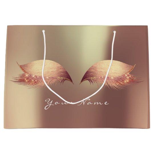 Rose Gold Blush Stripes Lashes Eyes Makeup Metalli Large Gift Bag
