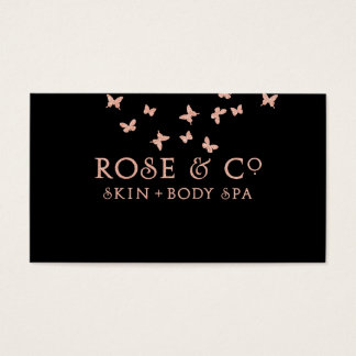 Rose Gold BlushBlack MIN Glam Butterfly Business Card