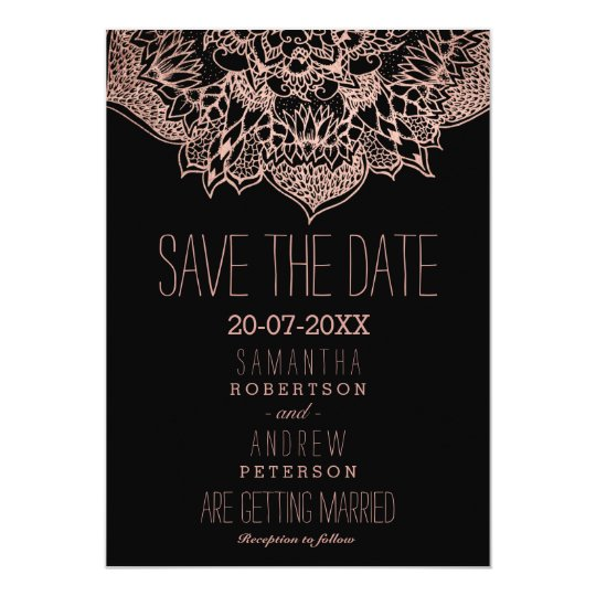 Rose gold boho floral mandala save the date card