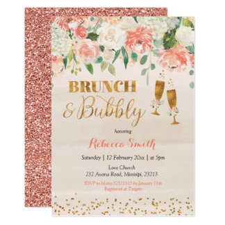 Rose Gold Brunch and Bubbly Shower Invitation