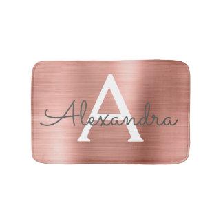 Rose Gold Brushed Metal Monogram Name and Initial Bath Mat
