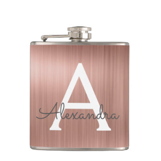 Rose Gold Brushed Metal Monogram Name and Initial Hip Flask