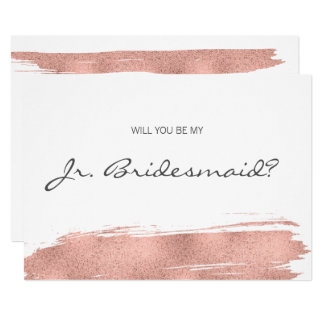 Rose Gold Brushstroke Be My Junior Bridesmaid Card