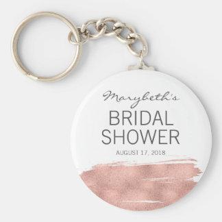 Rose Gold Brushstroke Bridal Shower Keychain