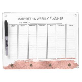 Rose Gold Brushstroke Planner Dry Erase Board