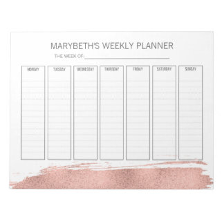 Rose Gold Brushstroke Weekly Planner Notepad