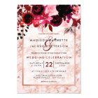 Rose Gold & Burgundy Floral Wedding Invitations