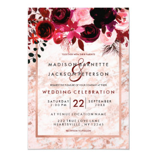 Rose Gold & Burgundy Floral Wedding Invitations
