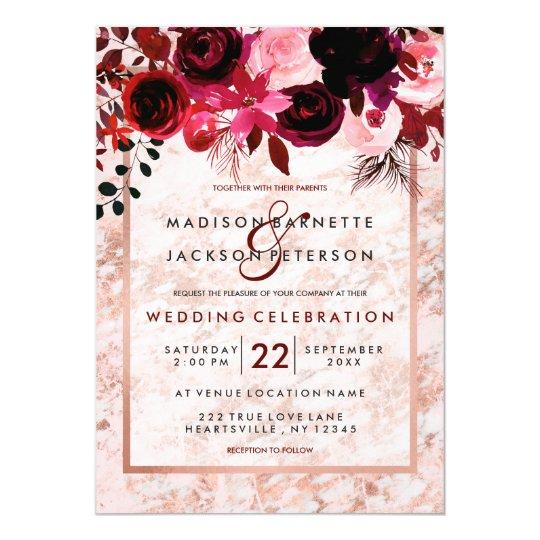 Www Zazzle Com Wedding Invitations: Rose Gold & Burgundy Floral Wedding Invitations