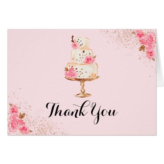 Rose Gold Cake Bridal Shower Thank You Card