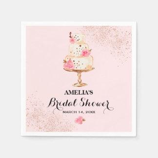 Rose Gold Cake Tea Party Bridal Shower Napkins Paper Napkins