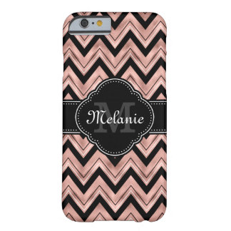 Rose Gold Chevron Pattern Black White Monogram Barely There iPhone 6 Case
