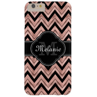 Rose Gold Chevron Pattern Black White Monogram Barely There iPhone 6 Plus Case