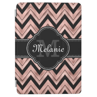 Rose Gold Chevron Pattern Black White Monogram iPad Air Cover