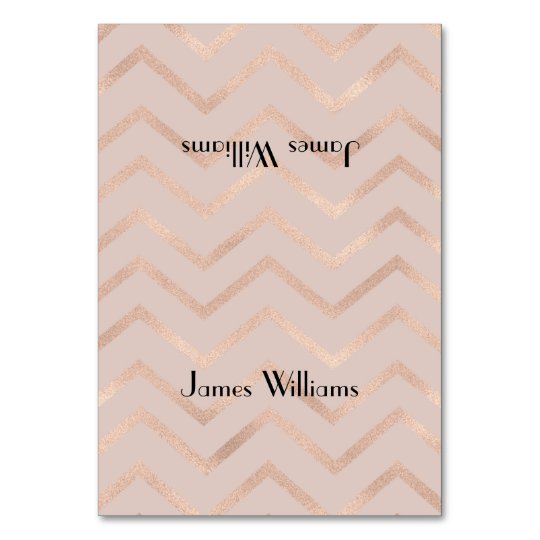 Rose Gold Chevron Place Setting Cards