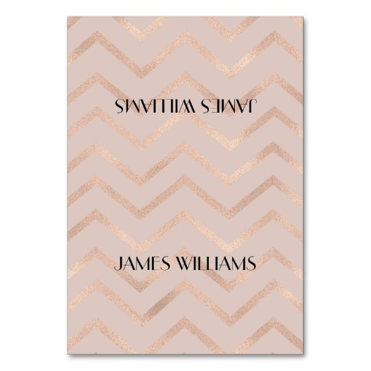 Rose Gold Chevron Seating Place Card