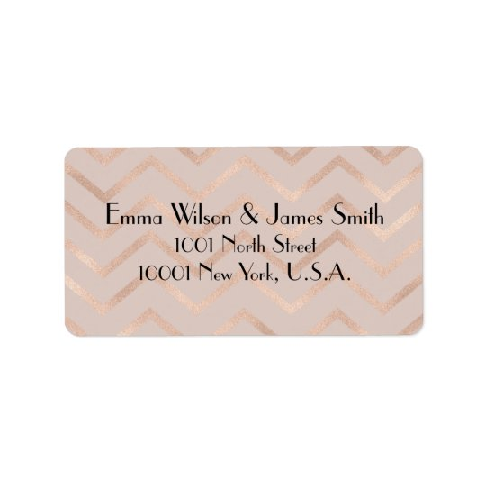 Rose Gold Chevron Wedding Address Return Labels
