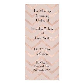 Rose Gold Chevron Wedding Program Cards Rack Card Template