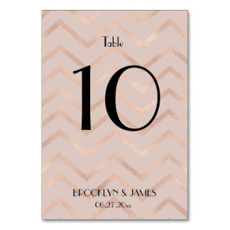 Rose Gold Chevron Wedding Table Numbers Table Card
