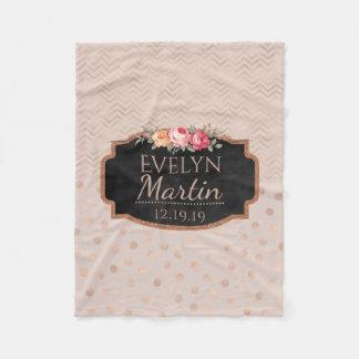 Rose Gold Chevrons Polka Dots | Monogrammed Floral Fleece Blanket