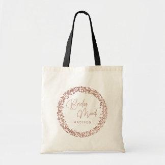 Rose Gold Circle Frame Wedding Bridesmaid Tote Bag