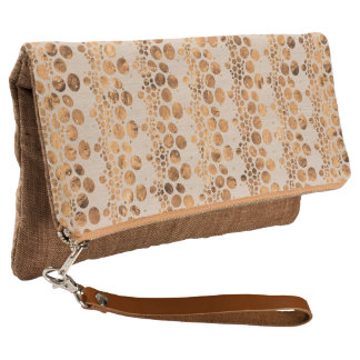 Rose-Gold Complex Lines Pattern Clutch