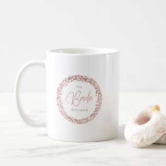 Rose Gold Confetti Circle Frame Wedding The Bride Coffee Mug