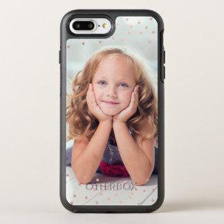 Rose Gold Confetti & Custom Photo OtterBox Symmetry iPhone 7 Plus Case
