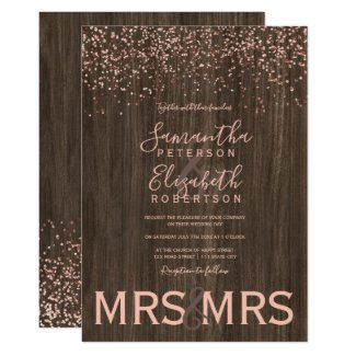 Rose gold confetti fall wood lesbian wedding invitation