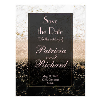 Rose gold confetti marble wedding artwork postcard