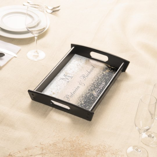 Rose gold confetti marble wedding artwork serving tray