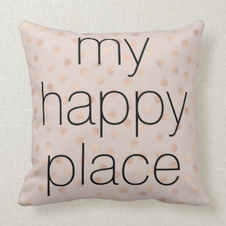 Rose Gold Confetti 'My Happy Place' Throw Pillow