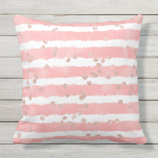Rose gold confetti pink blush watercolor stripes throw pillow