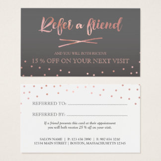 Rose Gold Confetti Refer a Friend Business Card
