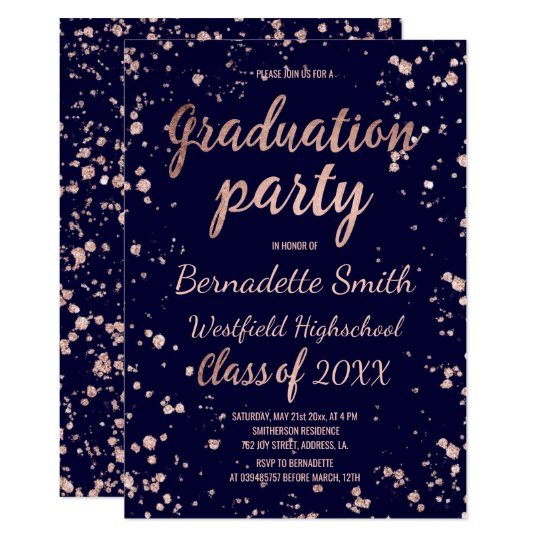 Rose gold confetti splatters navy graduation party card
