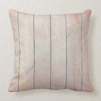 Rose Gold Copper Blush Glam Metallic Wood Cottage Throw Pillow