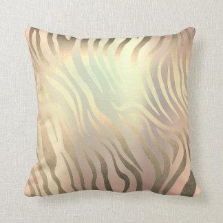 Rose Gold Copper Golden Zebra Safari Skin Throw Pillow