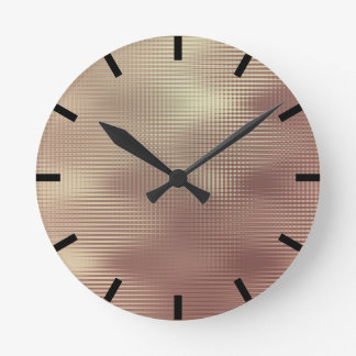 Rose Gold Copper Minimal Metallic Stripes Black Round Clock