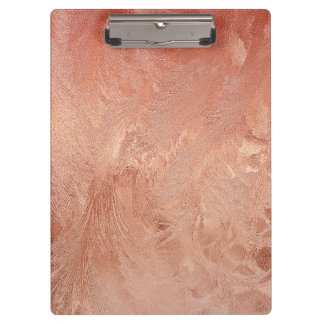Rose Gold Copper Peach Sand Grain Swirl Metallic Clipboard