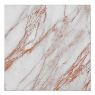 Rose Gold Copper White Coral Stone Marble Carrara Poster